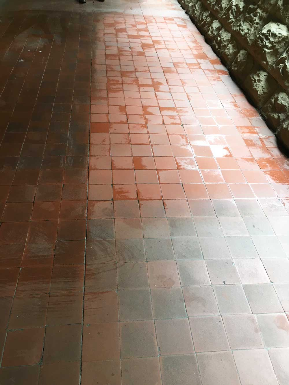 Cleaning Terracotta Tile at Melbourne University | Performance Property Services Group