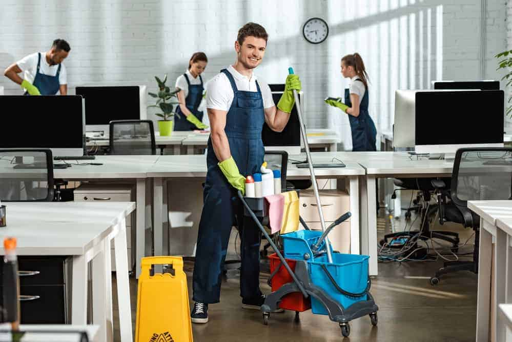 office cleaners in industrial setting